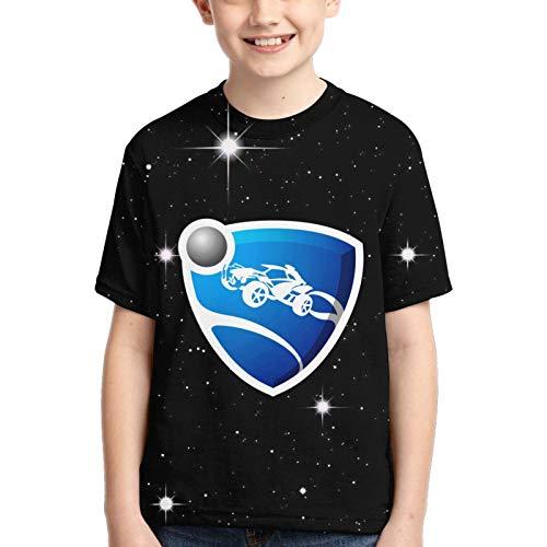 Boy's T Shirt Rocket Lea-GUE Symbol Young Short Sleeve Fashion Tops Tee Summer Daily Shirts Black
