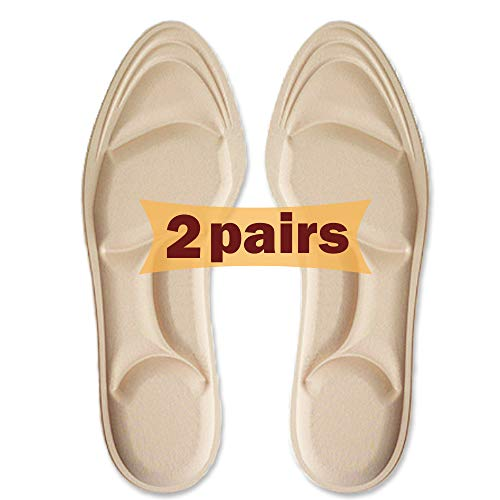 Shoe Insoles Women,(2 Pairs) Arch Support Insoles Breathable, New Material,5D Sponge Barefoot Comfort Insoles and High Heel Inserts, for Massaging, Arch Pain and Foot Pain Relieve