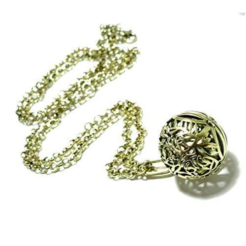 S110145714 Pax 1 Sautoir de 80cm Pendentif Cage et Perle Bola Harmony Grossesse 16mm cuivre Couleur Bronze Doré