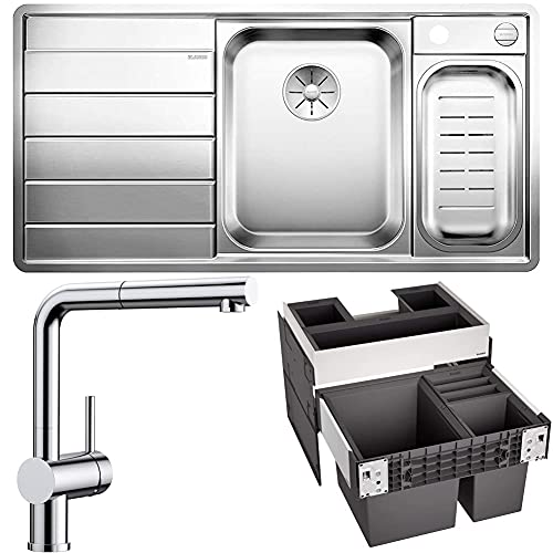 Blanco - Axis iii 6 s-if inox y Blanco Linus – S Vario – Grifo para cocina y BLANCO 526210 Select II XL 60/3 Orga - Sistema de separación de basura, color negro