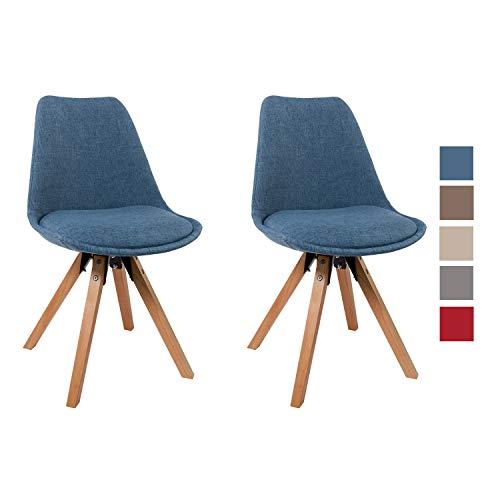 Duhome 2er Set Stuhl Esszimmerstühle Küchenstühle Farbauswahl mit Holzbeinen Sitzkissen Esszimmerstuhl Retro 518M, Farbe:Blau, Material:Stoff