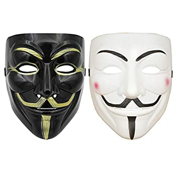 DukeTea Hacker Mask for Kids Anonymous Mask Halloween Costume Cosplay Masquerade Party  Black+White