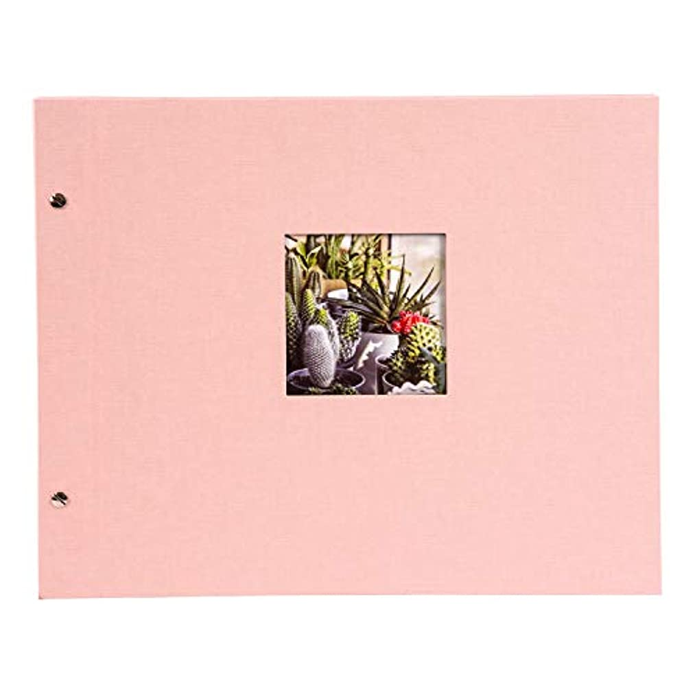 Goldbuch Bella Vista Screw Album, Linen, Pink, 39 x 31 x 2.5