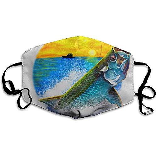 FANCYDAY Mondmasker, multifunctioneel masker, groene vis/tarpon jumping painting variatie, blauwe vis zout water lokaas