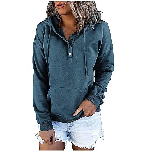 Sudadera con capucha para mujer, parte superior con capucha, sudadera, sudadera de manga larga, cuartos de botones, suéter, marine, XL