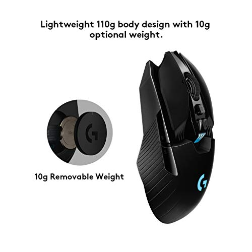 Logitech G G903 LIGHTSPEED Wireless Gaming Mouse, 12K DPI, RGB, Leggero, da 7 a 11 Pulsanti Programmabili, Lunga Durata della Batteria, PC/Mac, Imballaggio per l'Europa Occidentale, Nero