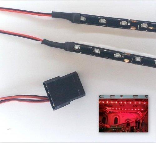 Top LED AMZ-TopLED-DW-277 - Kit de luces LED para caja de PC (2 tiras adhesivas de 15 cm con 9 pilotos LED cada una, cables de 40 cm) rojo Bright Red 60cm