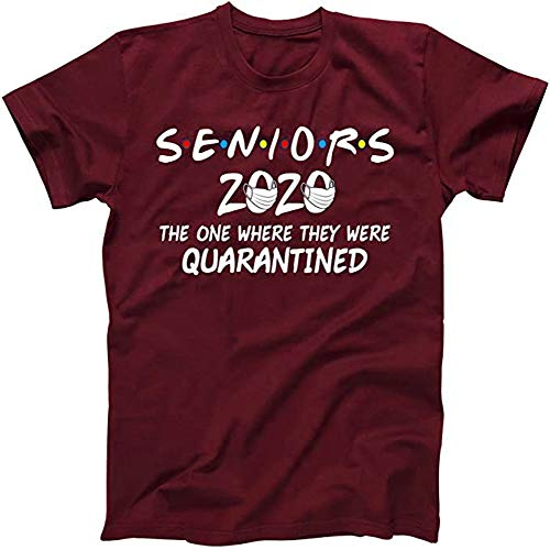Umeko Womens Seniors 2020 The One Where They were Quarantined T-Shirt Summer Letter Printed Graphic Tees Burgundy