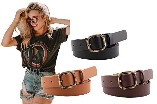 Longwu Paquete de 3 cinturones de piel sintética para mujer para pantalones vaqueros, cinturones de cintura para mujer con hebilla cuadrada en O