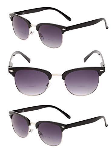 'El Ejecutive' 3 pares de gafas de sol de lectura bifocales clásicas sin montura, color Negro, talla Medium