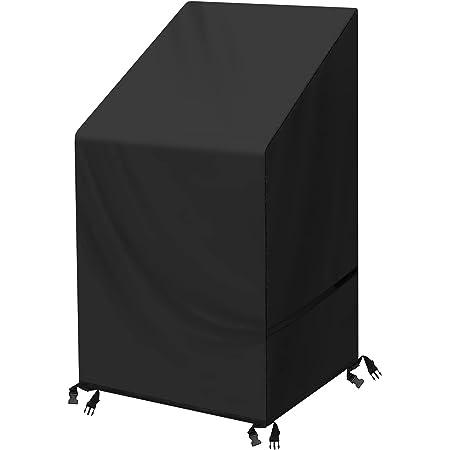 SIRUITON Housse de Chaise de Jardin Housse de Chaise Empilable Imperméable Robuste Tissu Oxford 420D Noir 120x65x65/80CM