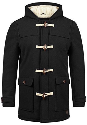Indicode Columbia Herren Winter Mantel Dufflecoat Wollmantel Lange Winterjacke mit Kapuze und Teddy-Futter, Größe:XL, Farbe:Black (999)