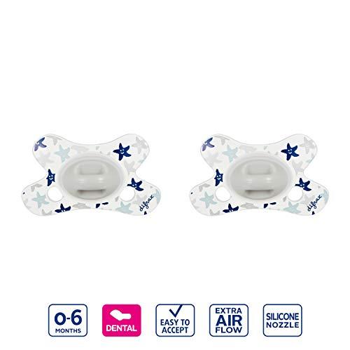 Difrax Schnuller 0-6 Monate 2 Stück Dental Kiefergerechte Form Blau Silber Grau Sterne - Jungen und Mädchen, Silikon, Schnelle Akzeptanz, Luftiges schilddesign, Doppelpack 2er Set
