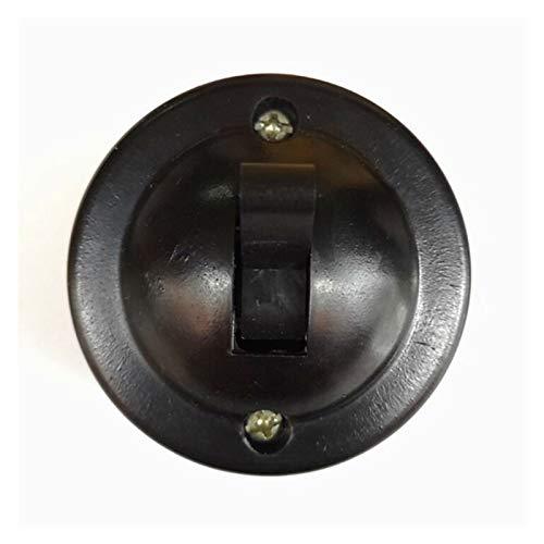 Kfdzsw Interruptor basculante 2 PCS Decoración del hogar Redondo Superficie Montado Solo Control DE Control DE Control RETETROS RETROPARIO DE TAGO Arriba Y Abajo 6A (Color : Black)