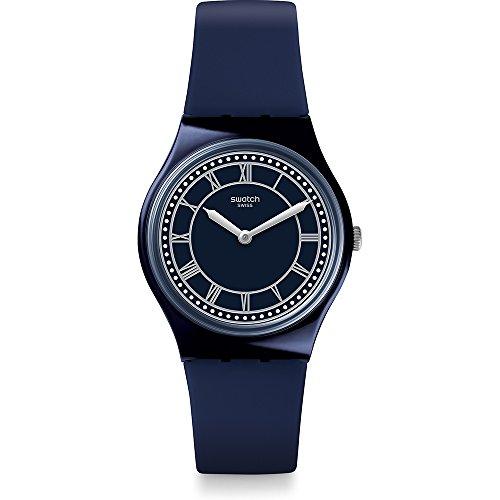 Swatch Unisex Erwachsene Analog Quarz Uhr mit Silikon Armband GN254