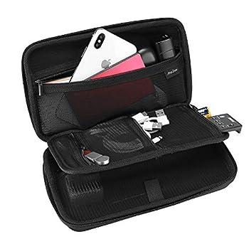 ProCase Étui Antichoc Organisateur Accessoires Électriques, Sac de Rangement en EVA Rigide, 5 Poches avec Fermeture Éclair, sans Perdre pour Ranger Câble, Clé USB, Carte SD, Batterie, Disque Dur