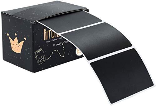 LabelQueen 100 Tafelsticker in Matt-Schwarz, 5 x 7 cm Rechteckig, Etiketten, Vinylsticker, Tafelaufkleber in praktischer Spenderbox für Einmachgläser, Marmeladengläser