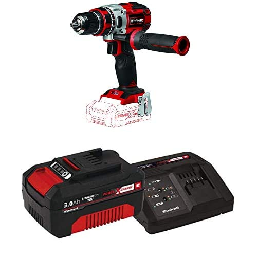 Einhell TE-CD Power X-Change 18-Volt Cordless Brushless 1/2-Inch Variable Speed Drill/Driver, 531 In-Lbs Torque, 1800 RPM Max, Handle, Belt Clip, LED Light, Kit (w/ 3.0-Ah Battery + Fast Charger)