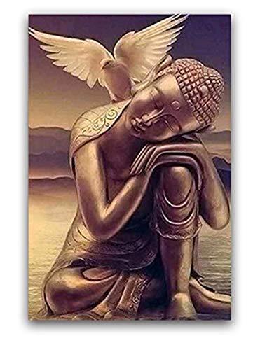 Ölgemälde Malvorlagen Bilder Nach Zahlen Mit Tauben Auf Buddha-Statuen Bild Zeichnung Relief Malen Nach Zahlen 40X50Cm