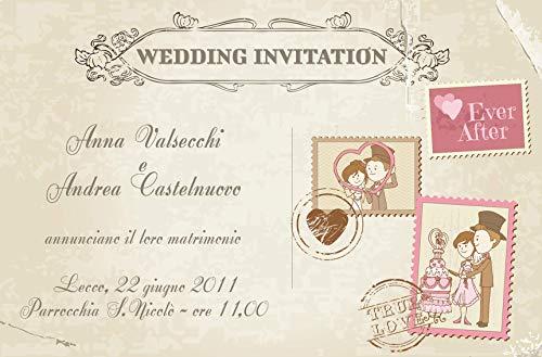 Partecipazioni matrimonio - inviti nozze cartolina vintage con francobolli disponibile in tutti i colori 10 pezzi