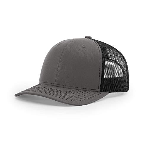 Richardson Unisex 112 Trucker Adjustable Snapback Baseball Cap, Split Charcoal/Black, One Size Fits Most