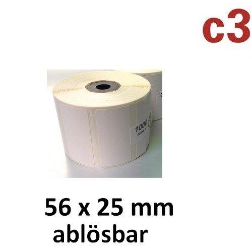 56x25 mm ThermoEtiketten ABLÖSBAR Rolle mit 1.000 Etiketten für Epson TM-L60 TM-L60II TM-L90 Zebra Easycoder Citizen