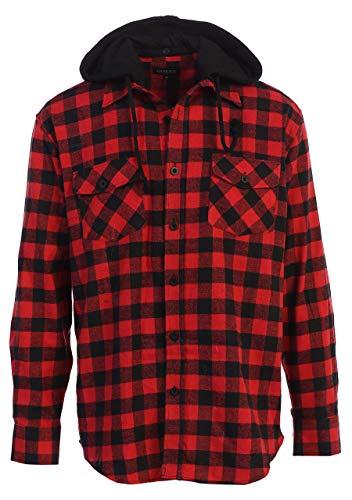 Gioberti Men's Removable Hoodie Plaid Checkered Flannel Shirt, Black/Red Checked Plaid, X-Large
