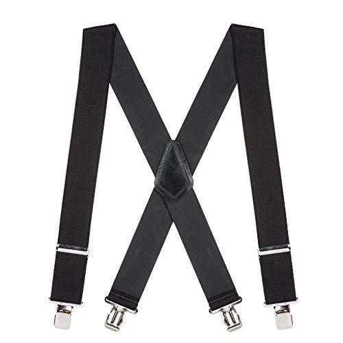 SuspenderStore Men's 2 Inch Wide Construction Clip Suspenders - BLACK
