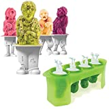 Zombie Popsicle Characters Molds, 4 Cell DIY Ice Pop Molds Flexible Silicone Frozen Ice Cream Mold, Juice Popsicle Maker Ice Cube Mould, BPA Free, Easy to Clean