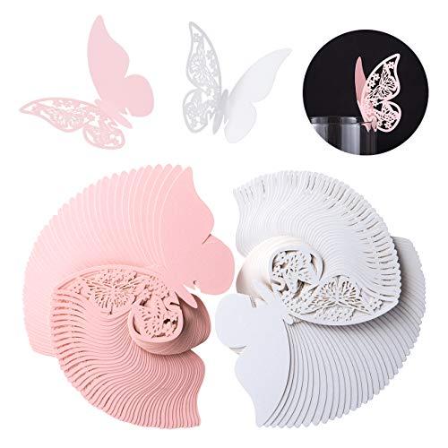 Kesote 100x Tischkarten Schmetterling Hochzeit Nameskarten Glasanhänger Platzkarten Taufe Kommunion Tischdeko (Weiß und Rosa)