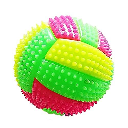 nJiaMe Spiky Massage Ball Dog Chew Biorhythm Fußball-Shaped mit blinkenden LED-Licht für Kinder Haustier-Spielzeug 6.5cm