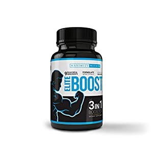 Maximize Within Elite Boost 3in1 Formula Naturally Promotes Testosterone Libido, Energy,Muscle Mass & Stamina, Powerful Ingredients Veggie Capsules