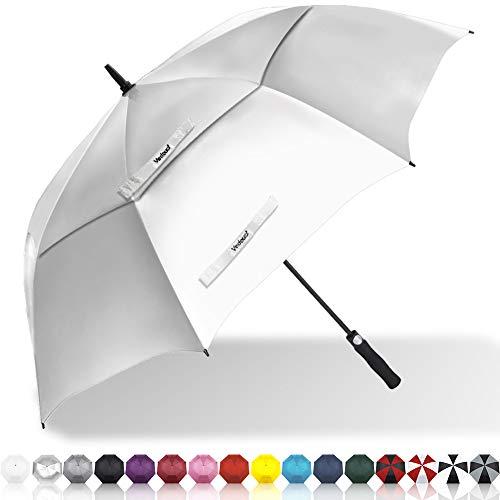 Vedouci Large Oversize Golf Umbrella Double Canopy Vented Windproof Stick Umbrella with Teflon Coating, Automatic Umbrellas Anti UV Coating Golf Umbrellas,Silver