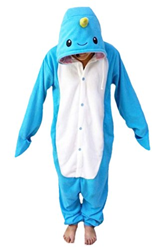 "WOTOGOLD Animal Cosplay Costume Unisex Adult Narwhal Pajamas, Blue, XS fit height 51""-55"""