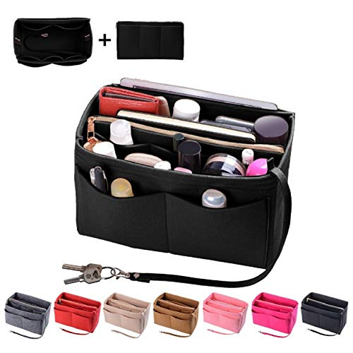 Purse Organizer Insert, Felt Bag organizer with zipper, Handbag & Tote Shaper, Fit Speedy, Neverfull, Tote (Slender Medium, Black)