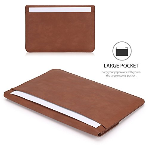 MoKo Microsoft Surface Pro 6 / Surface Pro 12.3 Inch Tablet Sleeve Case Bag, PU Leather Protective Laptop Sleeve Compatible with Surface Pro 2017/ Pro 4/ Pro 3/ Pro LTE 12.3