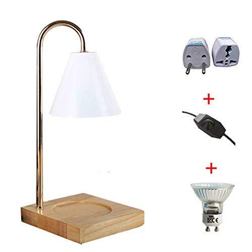 KAYBELE Lámpara de Mesa lámpara de Aroma lámpara de Escritorio Regulable con Base de Madera y Metal lámpara Sala de Estar Dormitorio Dormitorio Dormitorio Cama de Noche lámpara de Noche, Blanco