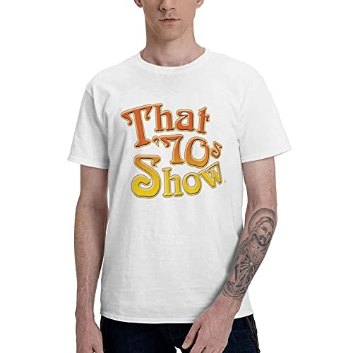 COOTHING That  70s Show Logo Man Smooth Casual Printed Basic Round Neck White T Shirt Costume