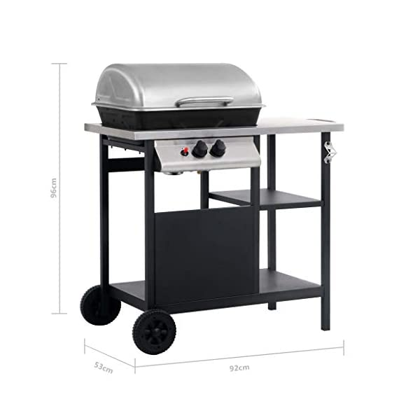 vidaXL Gas BBQ Barbecue Freestanding Grill with 3-Layer Side Table with 2 Wheels for Mobility Kitchen Dining Appliances…