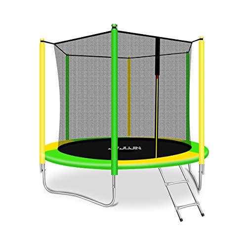 JUJIN - Cama elástica para niños (244 cm, con red de seguridad y escalera elástica), color amarillo y azul