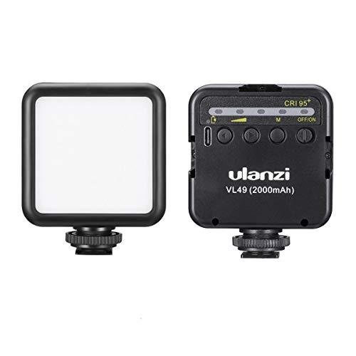 LED tascabile per videocamera e videocamera, alimentata a batteria, 2000 mAh, con slitta fredda, compatibile con fotocamera Vlog iPhone, DJI Osmo Pocket Osmo Action Gopro Hero 8/7/6/5