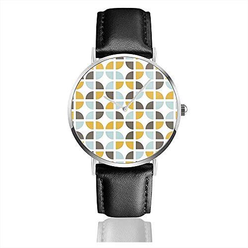 Geometrisches Hintergrundbild. Herrenuhr Uhren für Damen Lederarmband Schwarz