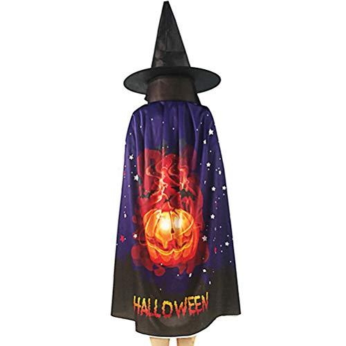 WENTS Costume da Strega di Halloween, Costume da Mago con Cappello da Mago Mantello per Bambini Ragazzo Ragazza Costume Cosplay Festivel Stile Stella (Zucca)
