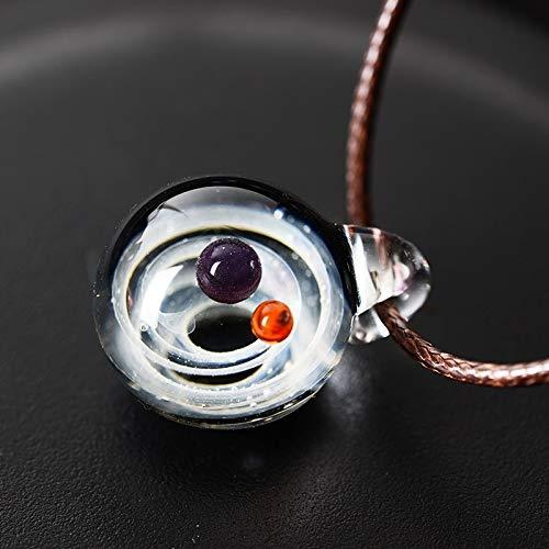 GSZPXF LKO Nebulosa cósmica Galaxy Pendiente de Cristal Hecho a Mano con Cuerda Collar Lucky Mujeres de los Hombres Joyas Pareja de San Valentín Presente (Metal Color : K9)