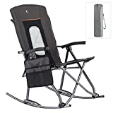PORTAL Folding Camping Rocking Chairs Outdoor Mesh Patio Rocker Recliner Chairs with High Back Hard Armrest Support 300 lbs, Black