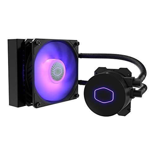 Cooler Master MasterLiquid ML120L V2 RGB Refrigeración a Liquido, Efectos Iluminación Brillantes, Bomba 3a Generación, Radiador Superior y Ventilador SickleFlow 120 mm, Negro