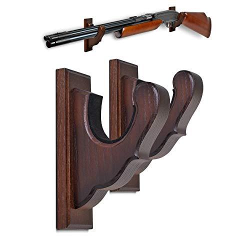 TESLYAR Gun Rack Wall Mount Hold Up Displays Horizontal Gun Rack and Shotgun Hooks Store Rifle Shotgun Bow Real Hardwood Hanger Brown
