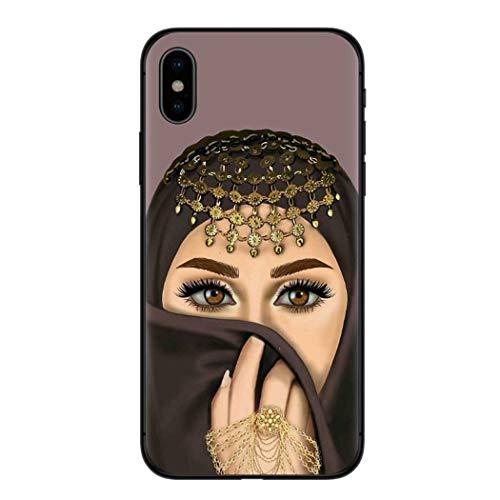 APHT Islamic Arabic Hijab Girl Handyhülle Phone Case TPU Case Ultradünn Handyhülle Silikon Bumper Cover Stoßfest/Kratzfest Schutzhülle Bumper Case Cover für iPhone 5-11 pro max