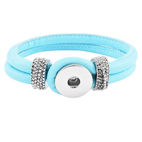 Souarts Armband Click Button Armreif für Druckknöpfe Chunks Wickelarmband mit Schlaufenverschluss Blau