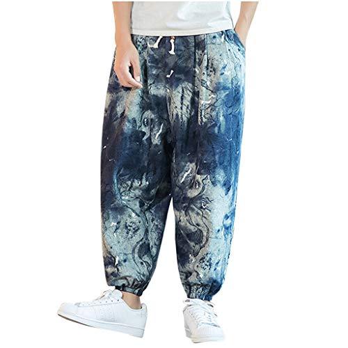 MINIKIMI Haremshose MäNner Jogginghose Baumwolle Vintage Bunte Hippie Hose Baggy Bequeme Pumphose Aladinhose Streetwear Pluderhose Gypsy Pants GroßE GrößEn M-5Xl